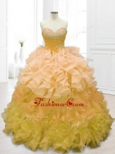 Fashionable Sweetheart Beading and Ruffles Quinceanera Dresses in Gold SWQD062-4FOR