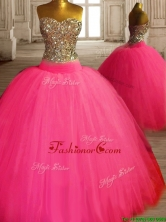 Gorgeous Beaded Bodice Tulle Sweet 16 Dress in Hot Pink SWQD121FOR