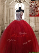 Hot Sale Beaded Bodice Sweet 16 Dress in Wine Red SWQD125FOR