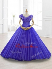 Latest Appliques Cap Sleeves Sweet 15 Dresses in PurpleSWQD061-2FOR