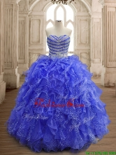 Latest Beaded and Ruffled Organza Quinceanera Dress with Really Puffy SWQD156-3FOR