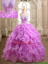 Lovely Applique and Beaded Organza Quinceanera Dress in Lilac SWQD129FOR
