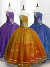 Lovely Ball Gown Strapless Organza Quinceanera Dresses with BeadingSWQD075FOR