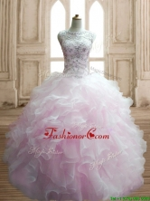 Lovely Beaded and Ruffled Scoop Quinceanera Dress in Light Pink SWQD141-3FOR