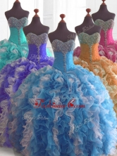 Low Price Beading and Ruffles Quinceanera Dresses in Multi ColorSWQD074FOR