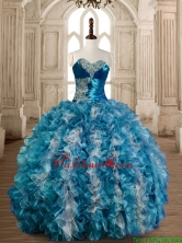 Luxurious Beaded Bust and Ruffled Sweet 16 Dress in Organza SWQD173-1FOR