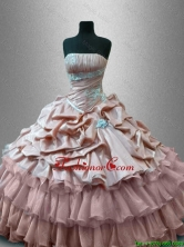 Luxurious Strapless Quinceanera Gowns with Ruffled Layers SWQD034-1FOR