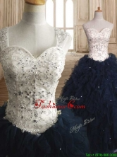 Modest Straps Organza Sweet 16 Dress with Beading and Ruffles SWQD143FOR