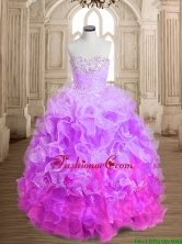 Most Popular Beaded and Ruffled Colorful Quinceanera Dress in Organza SWQD162-5FOR