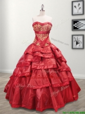 Most Popular Taffeta Red Quinceanera Dress with Appliques and Ruffled Layers SWQD092FOR