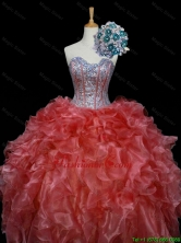 New Style 2016 Summer Ball Gown Sweet 16 Dresses with Sequins and Ruffles in Rust Red SWQD006-3FOR