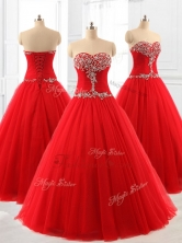 Perfect A Line Beading Tulle Quinceanera Dresses for 2016SWQD060-1FOR