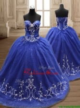 Perfect Applique Royal Blue Sweet 16 Dress with Brush Train SWQD119FOR