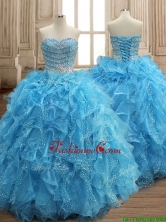 Perfect Aqua Blue Organza Quinceanera Dress with Beading and Ruffles SWQD156FOR