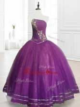 Perfect Strapless Purple Floor Length Quinceanera Gowns with BeadingSWQD075-2FOR