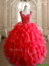 Perfect Straps Beading and Ruffles Sweet 16 Dress in Red SWQD152-1FOR