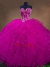Popular Beaded Fuchsia Sweet 16 Dresses with Sweetheart SWQD050-6FOR