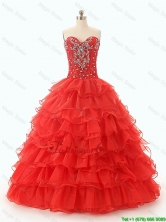 Popular Beaded and Ruffled Layers Quinceanera Dresses in Red SWQD049FOR