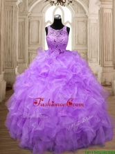 Popular Scoop Big Puffy Quinceanera Dress with Beading and Ruffles SWQD138-3FOR