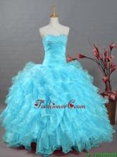Pretty 2016 Summer Beading Aqua Blue Quinceanera Dresses in Organza SWQD002-1FOR