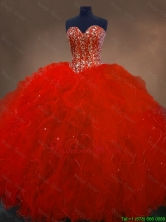 Pretty Red Sweetheart Quinceanera Gowns with Ruffles and Beading SWQD050-4FOR