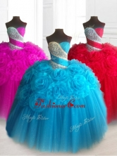 Elegant Sweetheart Quinceanera Dresses with Beading and Hand Made FlowersSWQD065FOR