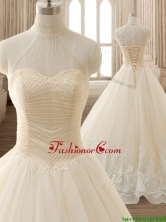 See Through High Neck Champagne Quinceanera Dress with Beading and Appliques SWQD134FOR