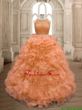 See Through Scoop Beaded and Ruffles Quinceanera Dress in Orange SWQD160-1FOR
