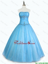 Simple Strapless Beaded Quinceanera Dresses with Floor Length SWQD048-1FOR