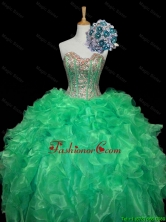 Top Seller 2016 Fall Turquoise Ball Gown Quinceanera Dresses with Sequins and Ruffles SWQD006-8FOR