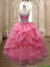 Unique Watermelon Organza Quinceanera Dress with Beading and Ruffled Layers SWQD158-7FOR