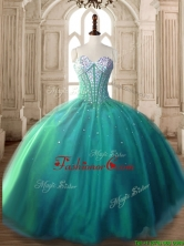 Visible Boning Beaded Bodice Tulle Quinceanera Dress in Turquoise SWQD171-2FOR