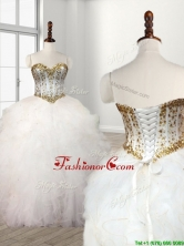 Visible Boning Beaded Bodice and Ruffled Quinceanera Dress in White SWQD111FOR