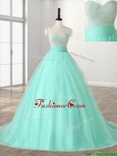 Wonderful A Line Beading Sweet 16 Dress with Brush Train SWQD115FOR