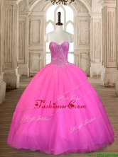 Wonderful Tulle Hot Pink Sweet 16 Dress with Beading SWQD167-5FOR