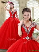 Summer Exquisite Ball Gown Beading Sweet 16 Dresses with V Neck YCQD019FOR