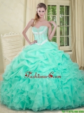2016 Beautiful Beaded and Pick Ups Quinceanera Dresses in Apple Green SJQDDT91002FOR