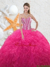2016 Beautiful Sweetheart Hot Pink Quinceanera Dresses with Beading QDDTA76002FOR