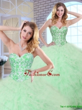 2016 Cheap Beading and Ruffles Apple Green Quinceanera Dresses SJQDDT163002GFOR