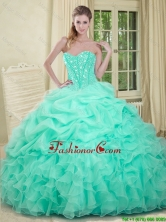 2016 Elegant Apple Green Quinceanera Dresses with Beading and Ruffles QDDTA74002FOR
