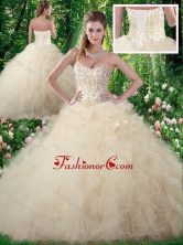 2016 Exquisite Champagne Sweet 16 Dresses with Beading and Ruffles SJQDDT346002FOR