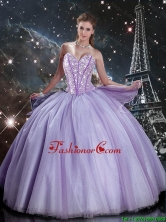 2016 Fall New Style Sweetheart Lavender Tulle Sweet 16 Dresses with Beading QDDTA93002FOR