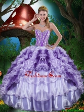 2016 Fall New Style Sweetheart Quinceanera Dresses with Beading and Ruffles QDDTA81002FOR