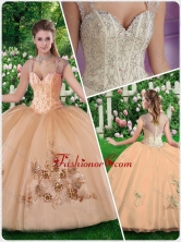 2016 New Style Straps Champange Quinceanera Dresses with Beading and Appliques SJQDDT278002FOR