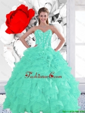 2016 Perfect Appple Green Quinceanera Dresses with Beading and Ruffles LFY091906-42FOR
