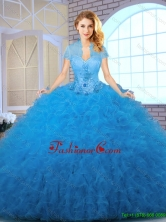 2016 Perfect Blue Sweet 16 Dresses with Appliques and Ruffles SJQDDT141002-3FOR