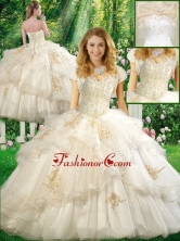 2016 Pretty Ball Gown Quinceanera Dresses with Appliques and Ruffles in White SJQDDT337002FOR