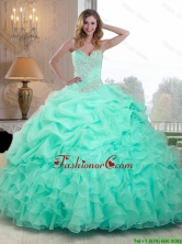2016 Pretty Beaded and Ruffles Quinceanera Dresses in Apple Green QDDTC50002FOR