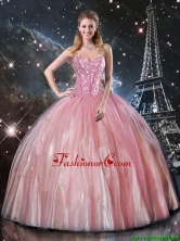 2016 Summer Cheap Ball Gown Sweetheart Beaded Quinceanera Dresses in Pink QDDTA110002FOR