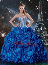 2016 Summer Popular Royal Blue Quinceanera Dresses with Beading and Pick Ups QDDTA89002FOR